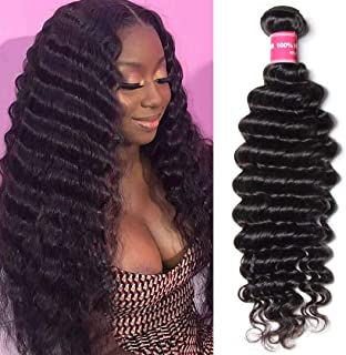 Jolia Hair Brazilian Deep Wave One Bundle Deal 10A Unprocessed Virgin Brazilian Curly Human Hair Weave Bundles, Natural Black Hair Color, Can be Dyed and Bleached (24 inch)