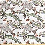 ABAKUHAUS Fische Stoff als Meterware, Karpfen Barsch und