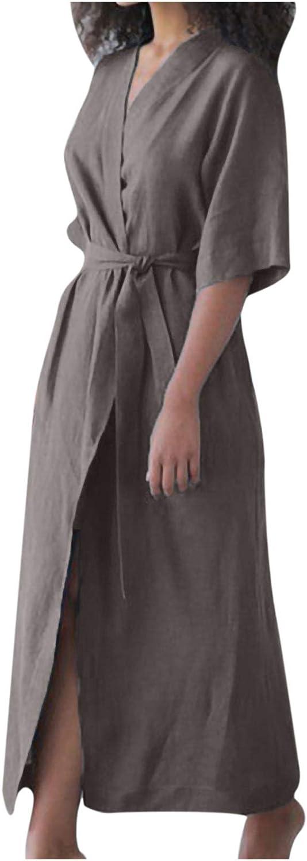 Summer Dresses Women's Cotton Linen Dress Bathrobe Style Lace Up Cardigan Dresstshirt Sundress Beach