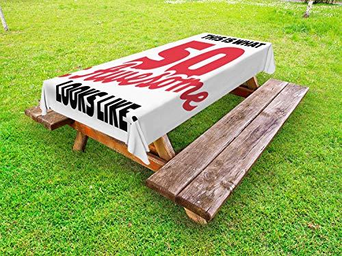 ABAKUHAUS 50ste Verjaardag Tafelkleed voor Buitengebruik, 50 Jaar Warme Kleuren, Decoratief Wasbaar Tafelkleed voor Picknicktafel, 58 x 84 cm, Rood Zwart Wit