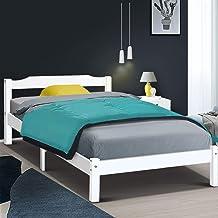 King Bed Frame, Artiss Wooden Bed Base, White