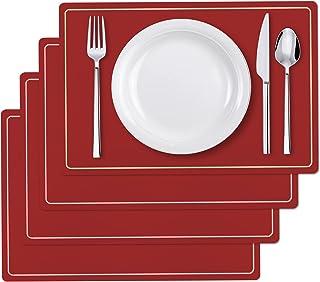 Woputne Set de 4 Sets de Table en Simili Cuir PU, napperons de Table antidérapants imperméables et lavables résistants à l...