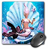 3dRose mp_181772_1 8' x 8' A Beautiful Mermaid Sits in a Seashell and Looks in a Mirror Mouse Pad