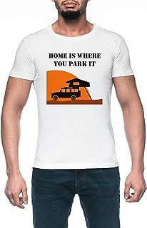 Home Is - Defender 110 - Roof Tent Hombre Blanco Camiseta Manga Corta Men's White T-Shirt