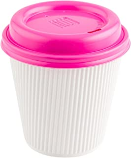 Coffee Cup Lids - Hot Pink - Plastic - Disposable - Fits 8, 12 and 16 oz Coffee Cups - 500ct Box - Restaurantware