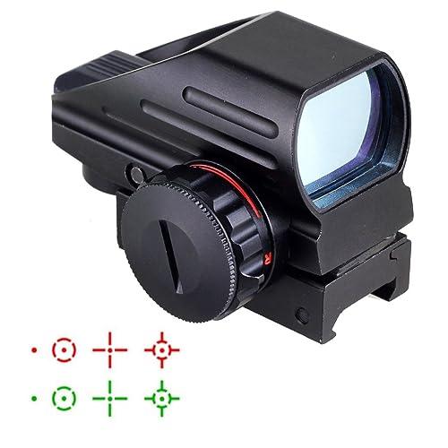 MAYMOC Mini reflejo hologr/áfico verde rojo punto vista alcance doble brillo Picatinny 20mm montaje en carril