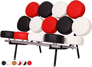 MLF® George Nelson Style Marshmallow Sofa in Premium Italian Leather (Black, White and Red) (7 Colors)
