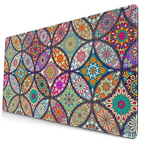 Waldeal Mandala Floral Extended Gaming Mouse Pad (29.5x15.8 in), Large Non-Slip Rubber Base Mousepad with Stitched Edges, Keyboard Mouse Mat Desk Pad for Work, Game, Office, Home