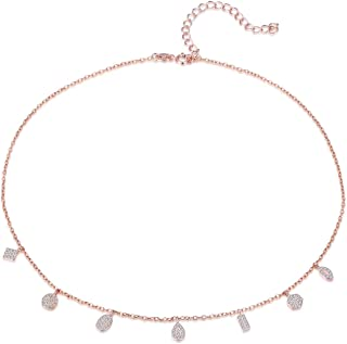 Choker Necklace, Rose Gold Choker Necklace 18K Rose Gold Plated Sterling Silver Choker Chain Necklace for Women Girls