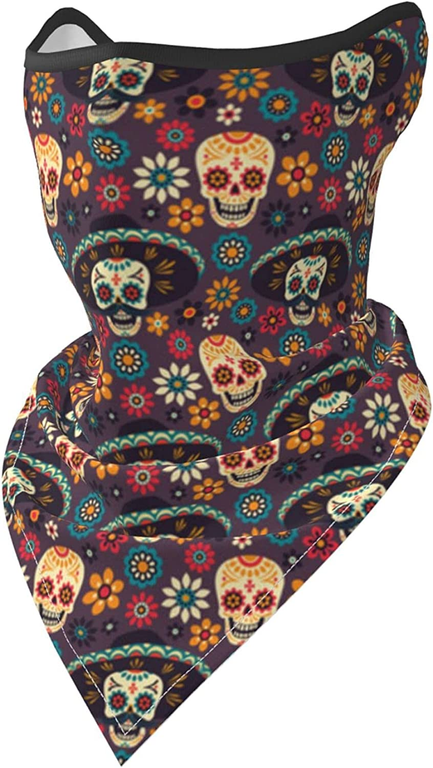 Sugar Skulls and Flowers Breathable Bandana Face Mask Neck Gaiter Windproof Sports Mask Scarf Headwear for Men Women Outdoor Hiking Cycling Running Motorcycling