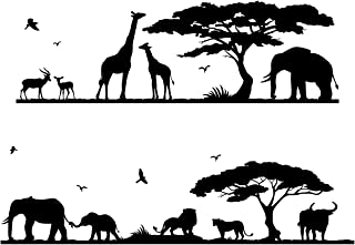 DECOWALL DWG-607B Safari Jungle Animals Graphic Kids Wall Decals Wall Stickers Peel and Stick Wall Stickers for Kids Nursery Bedroom Living Room