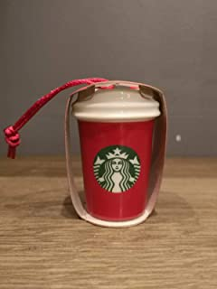 Starbucks Red Ceramic Cup Tree Ornament 2018 Christmas Edition