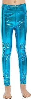 Aaronano Little Girls' Metallic Color Shiny Stretch Leggings
