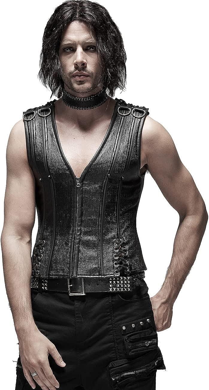 Punk Rave Men Heavy Punk Black PU Shapewear Gothic Sexy Hollow Rope Back Zip Up Corset Sleeveless Vest