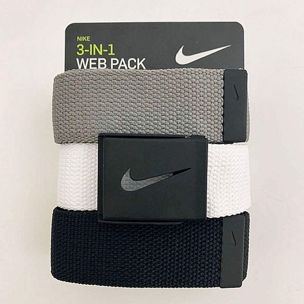 Nike Men's 3 Pack Web Belt, Matte Black Hardware, Black/White/Grey, One Size