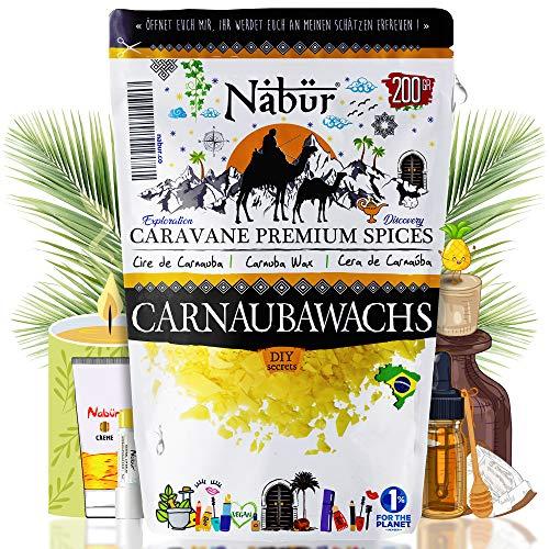 Nabür - Carnaubawachs 200 G | Lebensmittelqualität Vegane Alternative zu Bienenwachs DIY-Kosmetik, Lippenstifte, Cremes, Deodorants Herstellung | Verpackt in Frankreich