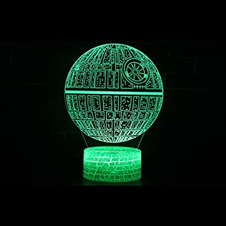 HLHHL-Lamp Death Star 3D Stereo Light/Led Decorative Light Acrylic Panel Colorful Touch Remote Control Crack Base Living Room Ambient Light/Bar Gift Decoration