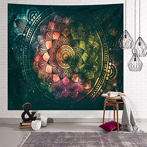 KHKJ Tapiz de Mandala de Pared Celestial para Colgar en la Pared, alfombras de Pared Hippie de Sol y Luna Negros Blancos, decoración de Dormitorio, Tapiz psicodélico A11, 200x180cm
