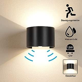 Elitlife Motion Sensor Wall Lights, 12W Warm Light Outdoor Waterproof Adjustable LED Waterproof Wall Lamp, Motion Detector Garden/Hallway/Pathway Porch Light (Black)