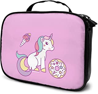 VIMOO Layngo Toiletries Bags Holy Unicorn Donut Ice Cream Eyes-catching Pattern Cosmetic Bags Tiny Objects Multipurpose Storage Bag for Women 9.8x7.5x3in