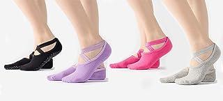 Podinor Non Slip Anti Skid Sticky Yoga Barre Pilates Socks with Grips for Women