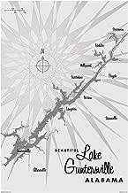 Lake Guntersville AL Gray Vintage-Style Map Art Print Poster by Lakebound (12
