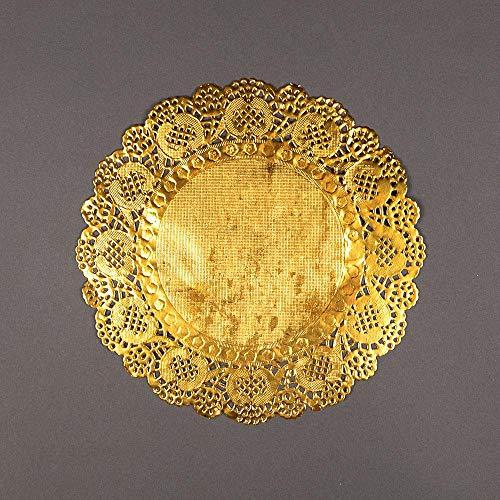 PaperLanternStore.com 8.5 Inch Round Gold Foil Doilies (50 Pack)