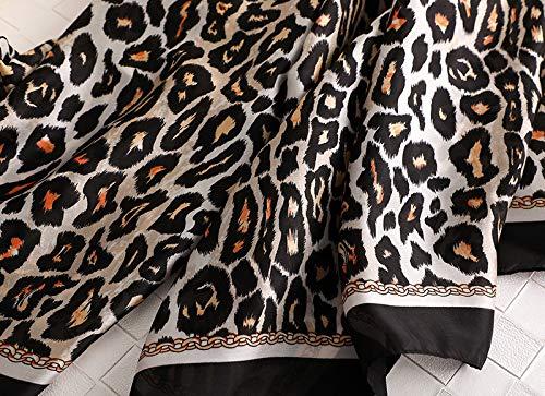 Alice Women Fashion Leopard Print Silky Satin Scarf Large Shawl Head Wrap