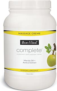 Bon Vital Complete Massage Creme, Premium Dual Purpose Cream for Hypoallergenic Professional Massages, Non Greasy Unscented Moisturizer Made with Marula, Olive, Avocado, Jojoba Oil, 1 Gallon