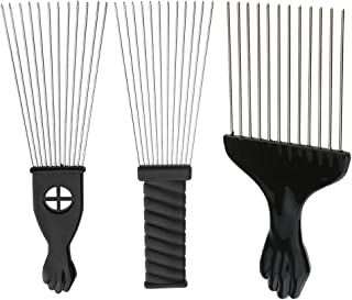 MagiDeal 3 Pieces Professional Salon Barber Afro Steel Teeth Comb for Hair Styling Design Hair Dyeing Brush Black Fist Wig Braid Hair Pick Comb Tool