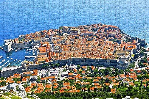 Rompecabezas de pared de la ciudad de Dubrovnik de Croacia para adultos, 1000 piezas de rompecabezas de madera para adultos