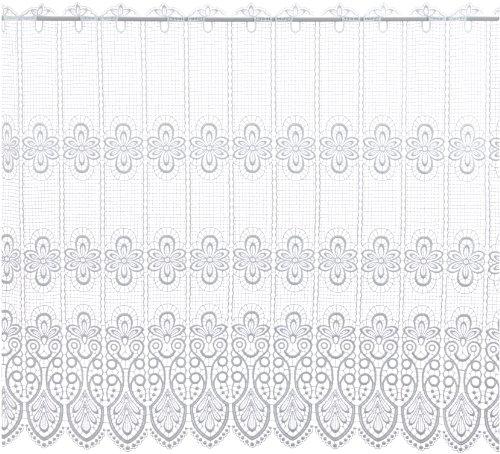 Plauener Spitze 68450_83_w - Cortina (100% poliéster con puntilla, Altura: 83 cm), Color Blanco