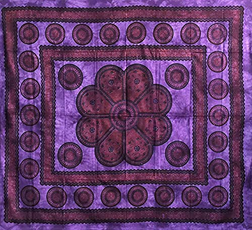 Poseidon Überwurf, groß, 220 x 240 cm, 100 % Baumwolle, Sofaüberwurf, Großes Halstuch, indisches Batik (violett)