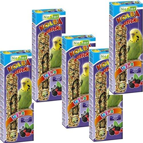 NESTOR Vogelfutter Wellensittich mit Waldfrucht 5 Packungen Knabbersticks Kolben