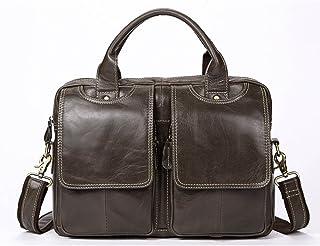 Men's Accessories 13-inch Laptop Shoulder Bag,Vintage Leather Briefcase for Men Tote Business Messenger Bag Outdoor Recreation (Color : Gray)