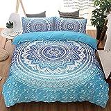 Helehome Bohemian Bedding Blue Mandala Duvet Cover Set Full Size 3pc Luxury Boho Chic Floral Bedding Mandala Quilt Duvet Cover with Zipper Closure