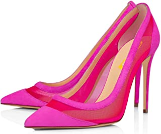 Women Sexy Mesh Stiletto High Heels Pumps Pointed Toe Slip On Dress Party Evening Dancing Shoes