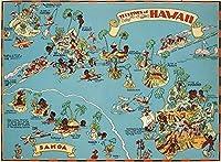 大人のためのパズル500ピースハワイの楽しい地図子供や友達への最高の贈り物