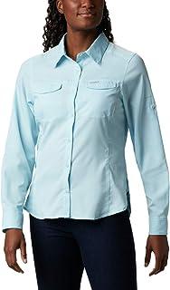 Columbia Women's Silver Ridge Lite Plaid Long Sleeve Wicking Shirt, Spring Blue, Large