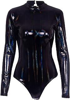 91e6c0aabc85 Generic Women s Shiny Metallic Patent Leather Gymnastics Dance Leotard Work  Out Bodysuit Jumpsuit Black XXS