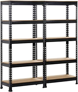 Yaheetech 2 Pack Shelving Units and Storage Shelves Heavy Duty Garage Shelving Shelves Utility Shelves Adjustable Height, ...