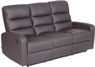 VH FURNITURE Top Grain Leather PU Ergonomic Recliner Sofa (3 Seater), Brown