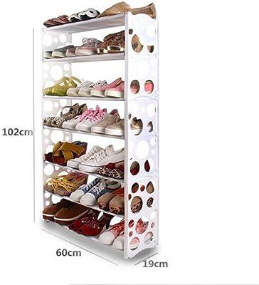 AIDELAI Zapateros y hormas para Zapatos, Estante para Zapatos Combinación Simple Estantería para Zapatos Estantería plástica Gabinete para Calzado 7 Niveles Blanco 60 * 19 * 102cm