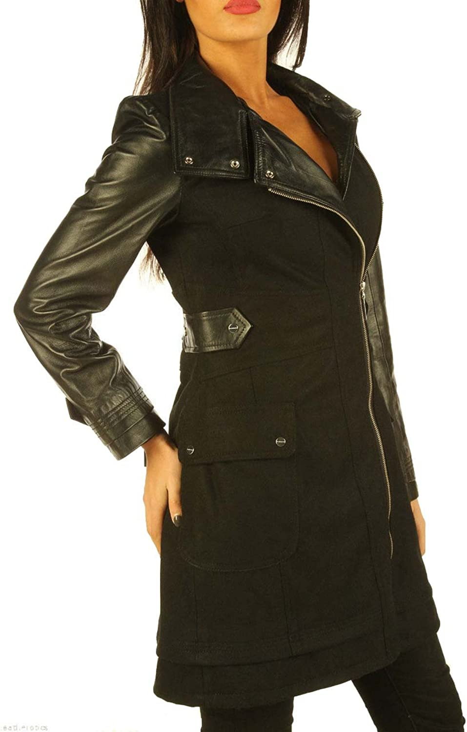 Leatheredics Ladies Real Leather Wool Coat With Full Grain Leather Arm Sleeves
