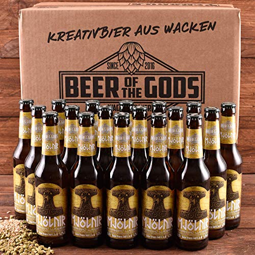 WACKEN BRAUEREI Pils, kaltgehopft Craft Beer Box 20 x 0,33 l Flasche | MJÖLNIR | Viking Craftbeer Set Gift for Men | Wikinger Kraft Bier Geschenk für Männer | Party Festival Heavy Metal