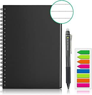 GUYUCOM Smart Reusable Notebook, Erasable Wirebound Smart Notebook with Pen Sketch Pads APP Storage (A5)