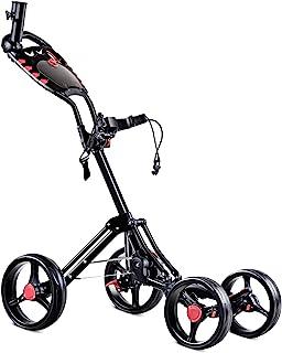 Tangkula Golf Push Cart 4 چرخ تاشو با صندوق نمرات امتیاز چتر دارنده دارنده گلف Pull Cart