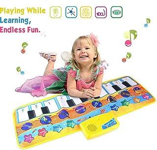 Afufu Alfombra de Piano, Alfombra Musical para Niños, 8 Modes Educacións Juguetes para Bebé Niños Infantil, Regalos Originales Juguetes Montessori Bebés 1 2 3 4 5 6 años (Amarillo)
