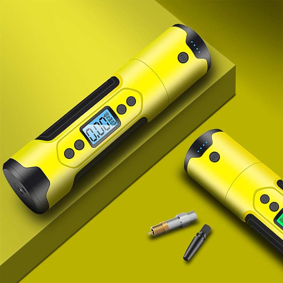 効能ある創始者頑張るFANPING エアーコンプレッサーポンプ携帯自動無線デジタルタイヤインフレータ、LEDランプを有する膨張可能な12V 150PSIハンドヘルドエアポンプ (Color : Yellow)