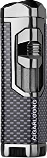 CIGARLOONG Cigar Lighter Personalized Triple Jet Torch Flame Refillable Butane Powerful Firepower Cigarette Lighter(Carbon...